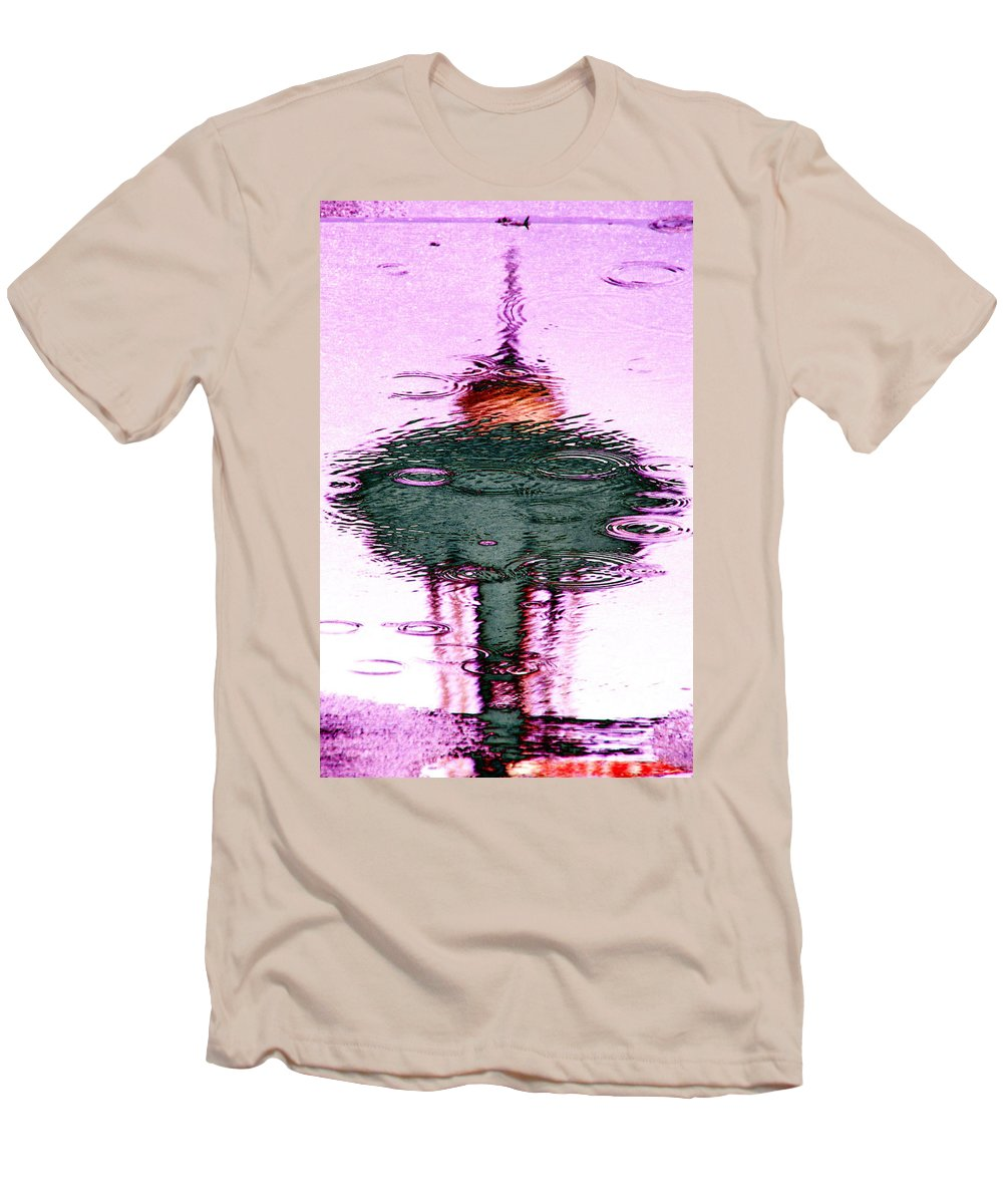 Seattle Men's T-Shirt (Athletic Fit) featuring the photograph Needle In A Raindrop Stack 2 by Tim Allen