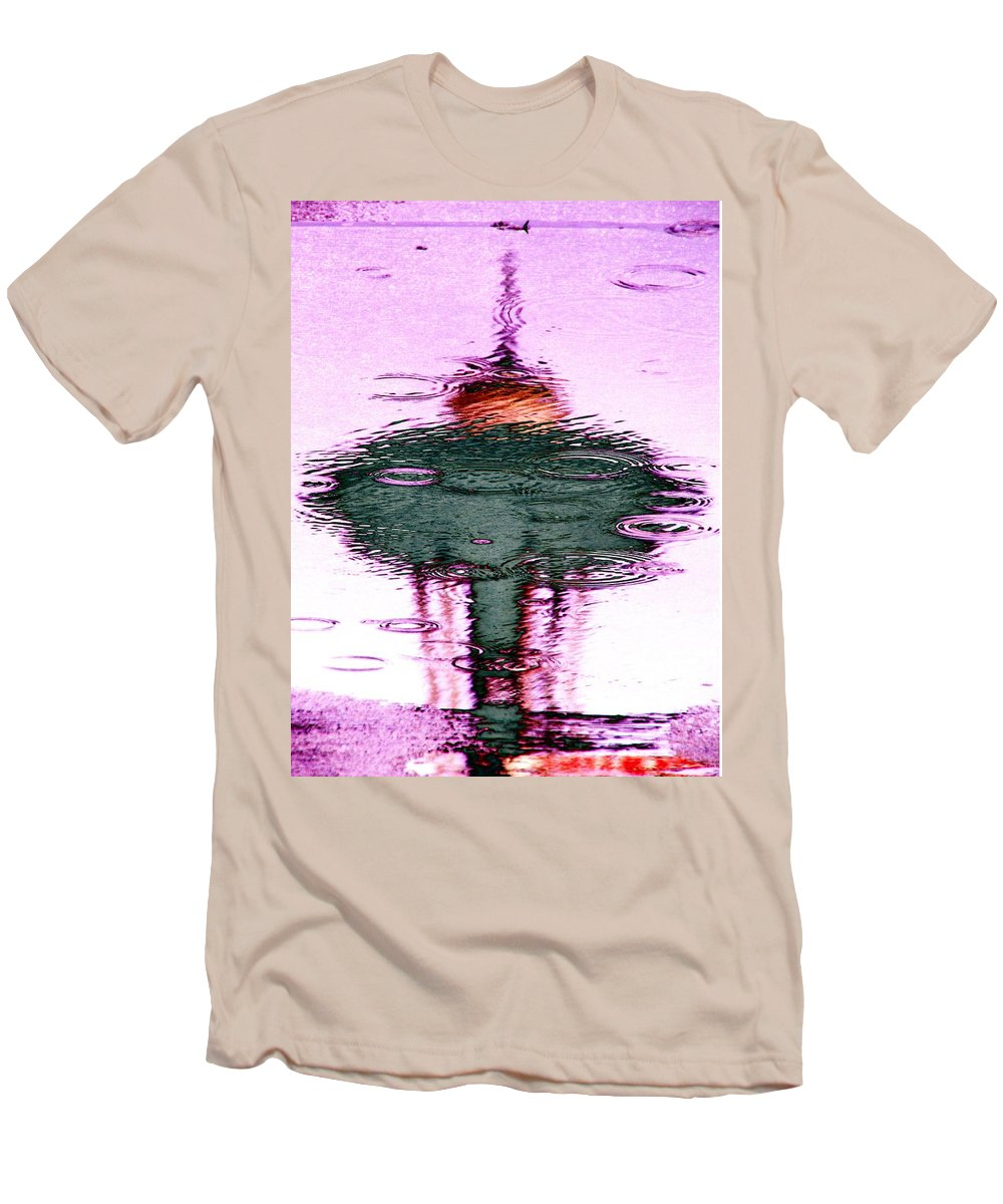 Seattle Men's T-Shirt (Athletic Fit) featuring the photograph Needle In A Raindrop Stack 5 by Tim Allen