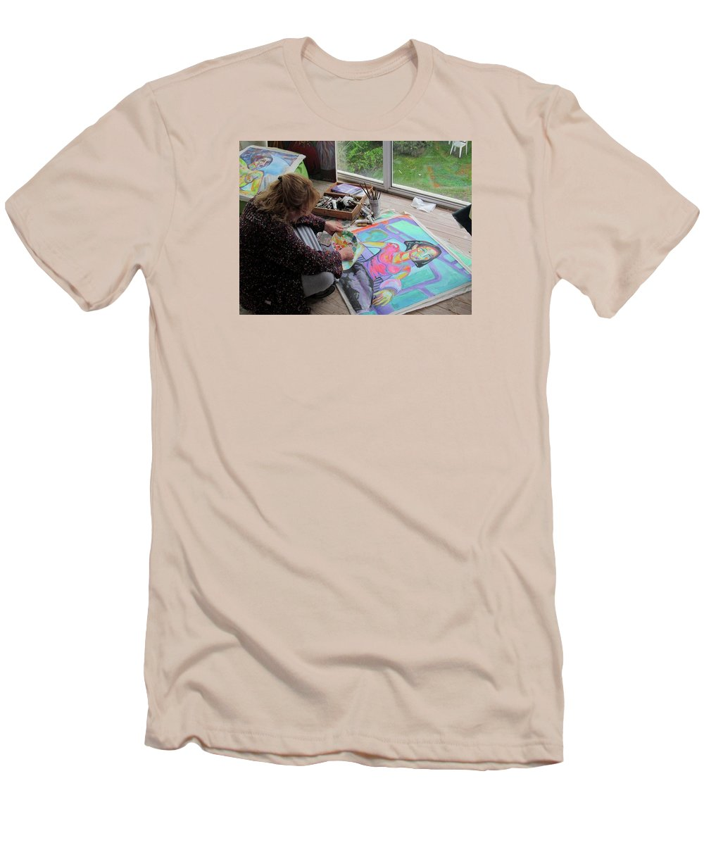 Landscape Men's T-Shirt (Athletic Fit) featuring the painting Nude by Raquel Sarangello
