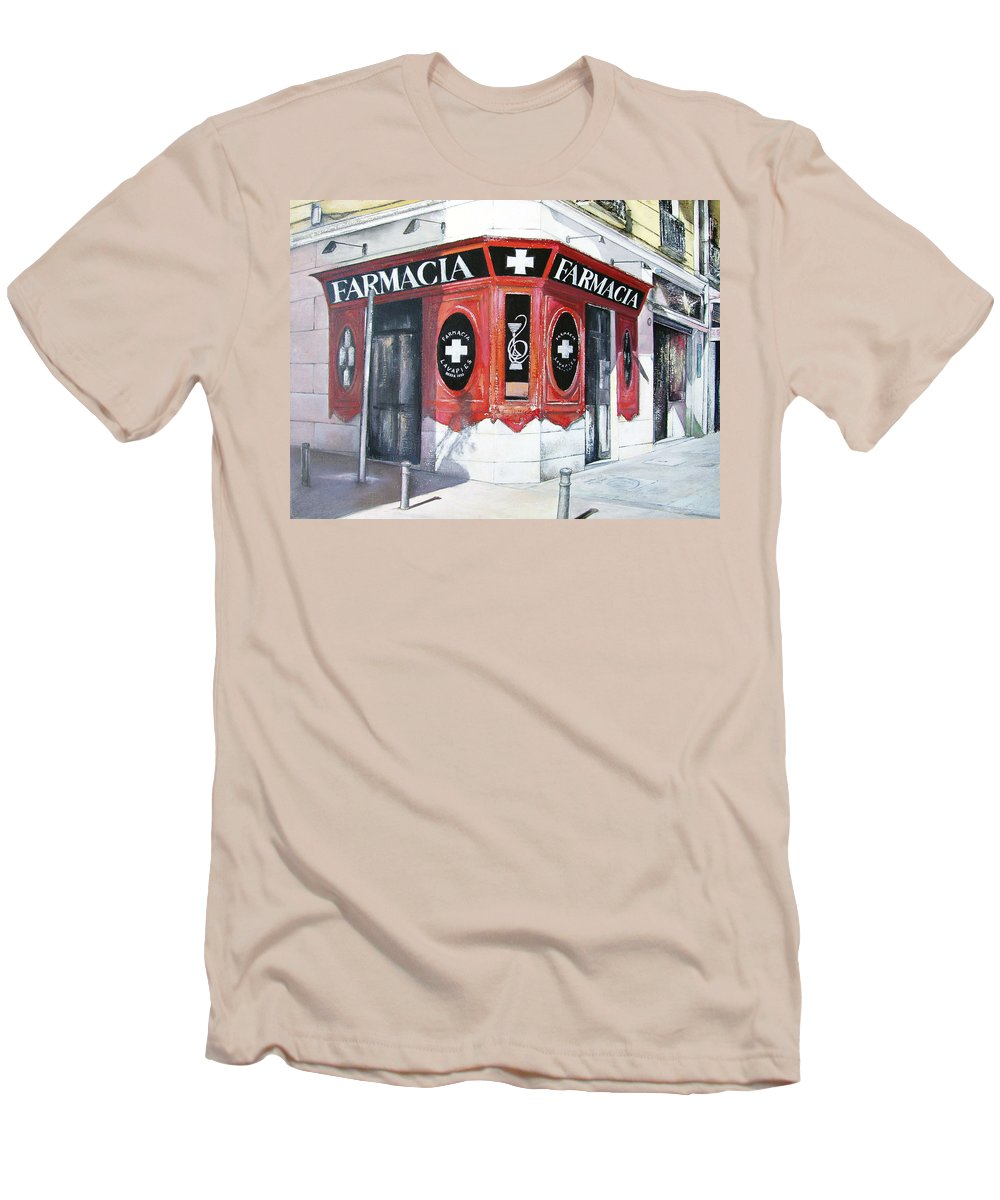 Pharmacy Men's T-Shirt (Athletic Fit) featuring the painting Old Pharmacy by Tomas Castano