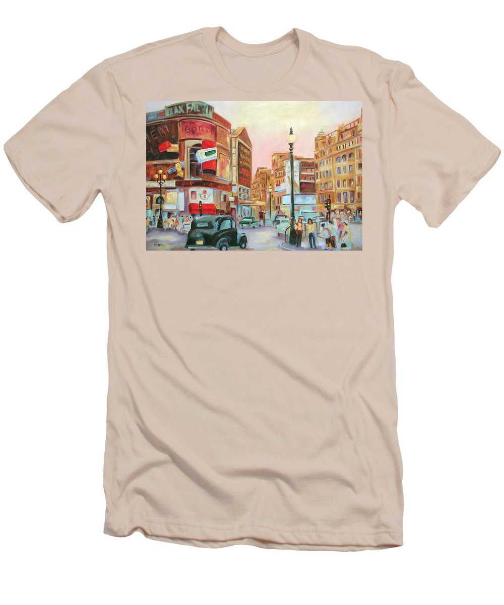 Cityscape Men's T-Shirt (Athletic Fit) featuring the painting Picadilly by Ginger Concepcion
