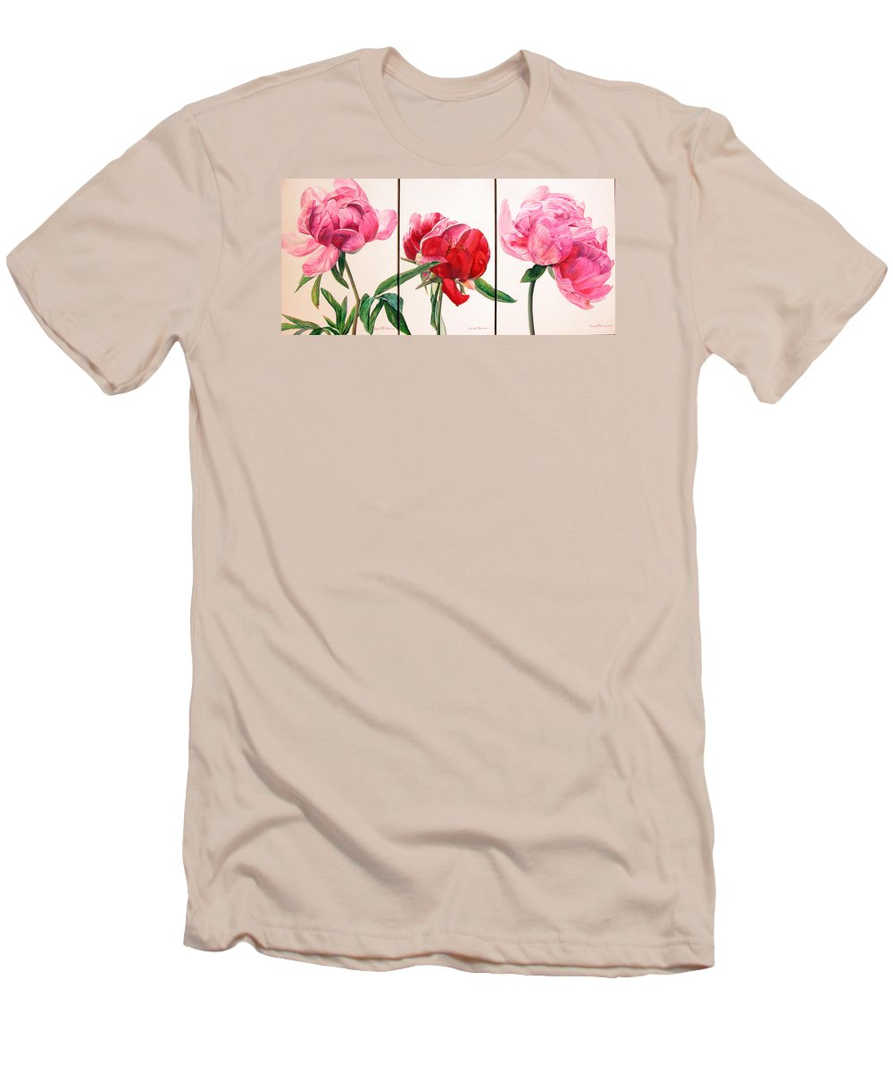 Floral Painting Men's T-Shirt (Athletic Fit) featuring the painting Pivoines by Muriel Dolemieux