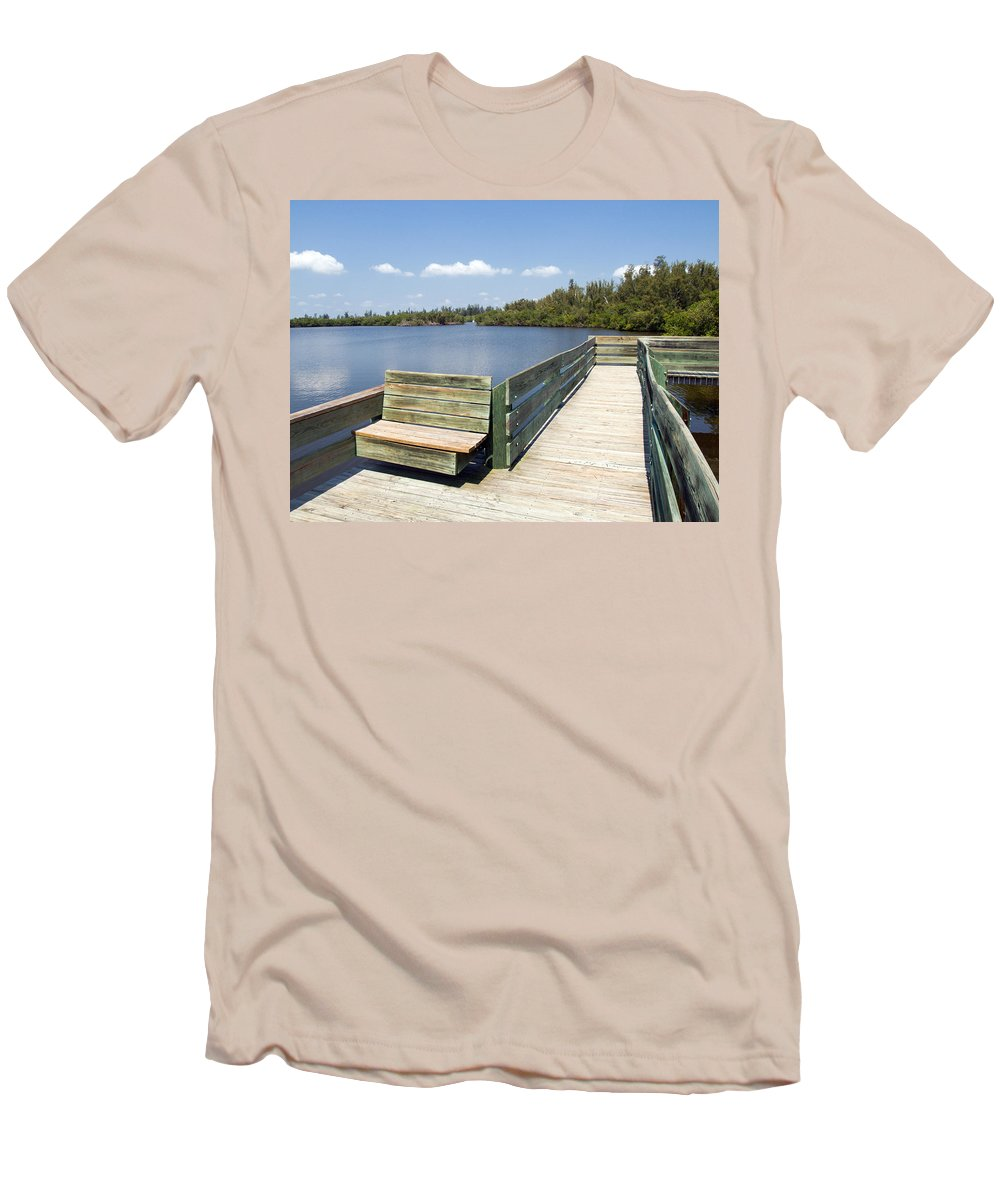 Kayak; Canoe; Florida; Round; Island; St; Saint; Lucie; County; Vero; Beach; Indian. River; Estuary; Men's T-Shirt (Athletic Fit) featuring the photograph Place For Fishing Or Just Sitting At Round Island In Florida by Allan Hughes