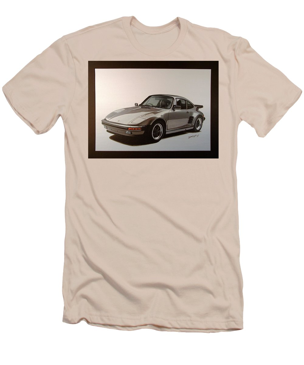 Car Men's T-Shirt (Athletic Fit) featuring the painting Porsche by Shawn Stallings