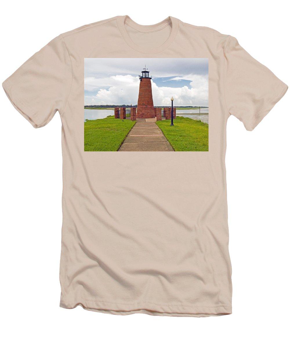 Florida; Kissimmee; Toho; Tohopekaliga; Port; Light; Lighthouse; House; Beacon; Brick; Central; Harb Men's T-Shirt (Athletic Fit) featuring the photograph Port Of Kissimmee Lighthouse In Central Florida by Allan Hughes