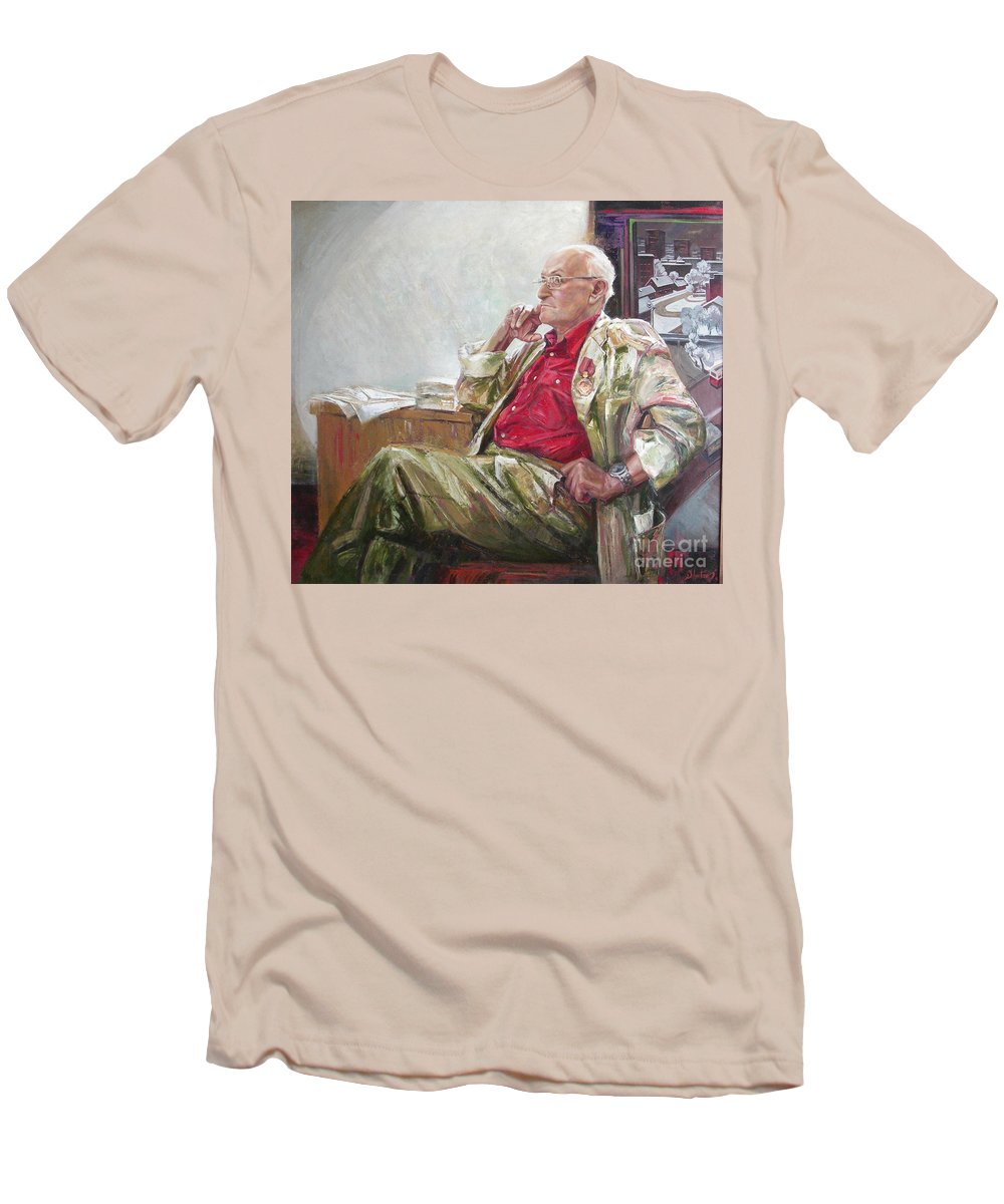 Oil Men's T-Shirt (Athletic Fit) featuring the painting Portrait Of May Dancig by Sergey Ignatenko