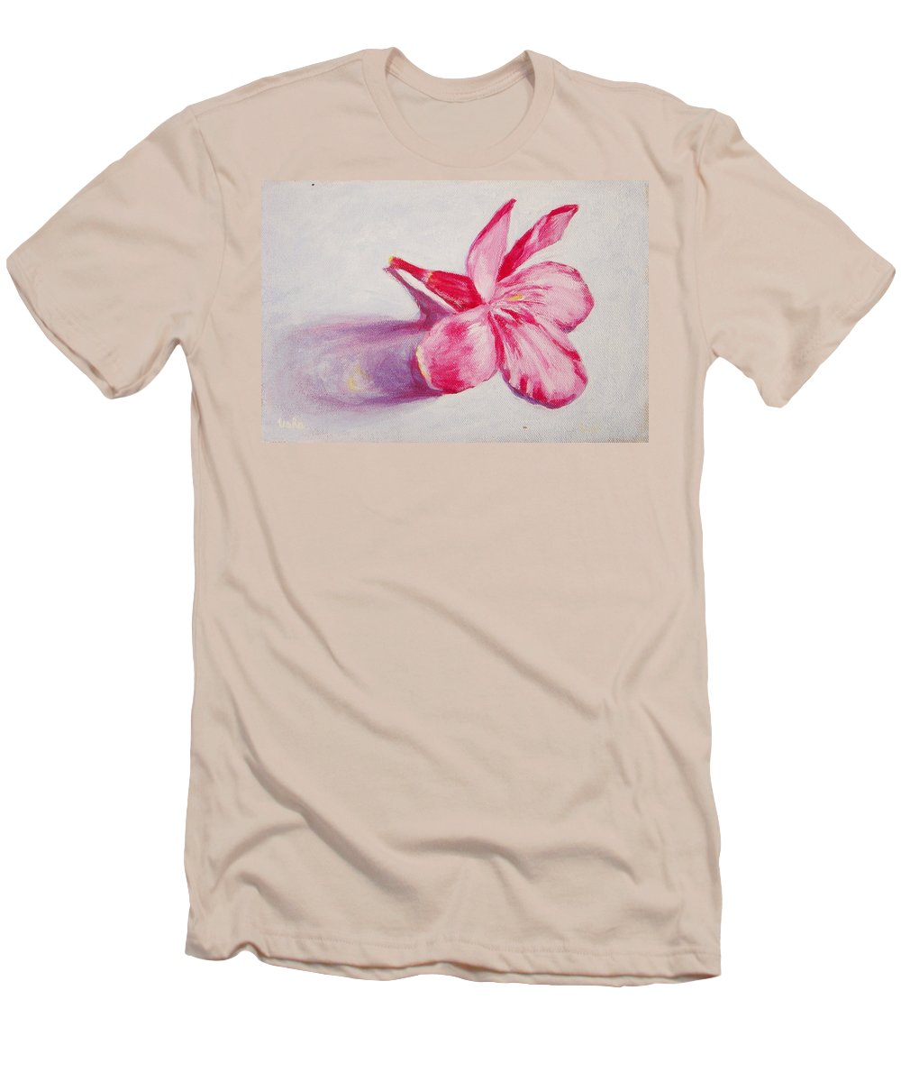 Genneri Men's T-Shirt (Athletic Fit) featuring the painting Portrait Of The Kaneri Flower. Oleander by Usha Shantharam