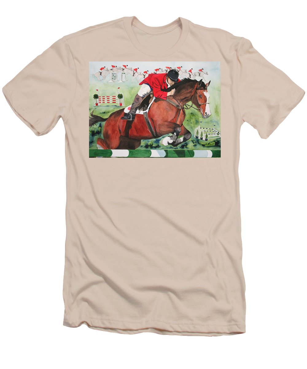 Horse Men's T-Shirt (Athletic Fit) featuring the painting Practice Makes Perfect by Jean Blackmer