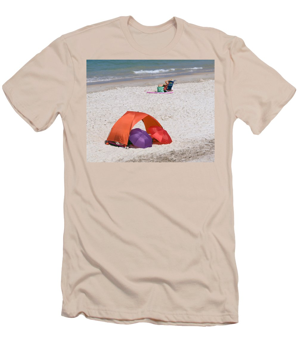 Florida; Vero; Beach; Shore; Coast; East; Atlantic; Ocean; Sand; Sandy; Umbrella; Umbrellas; Sun; Su Men's T-Shirt (Athletic Fit) featuring the photograph Privacy For Two At The Beach by Allan Hughes