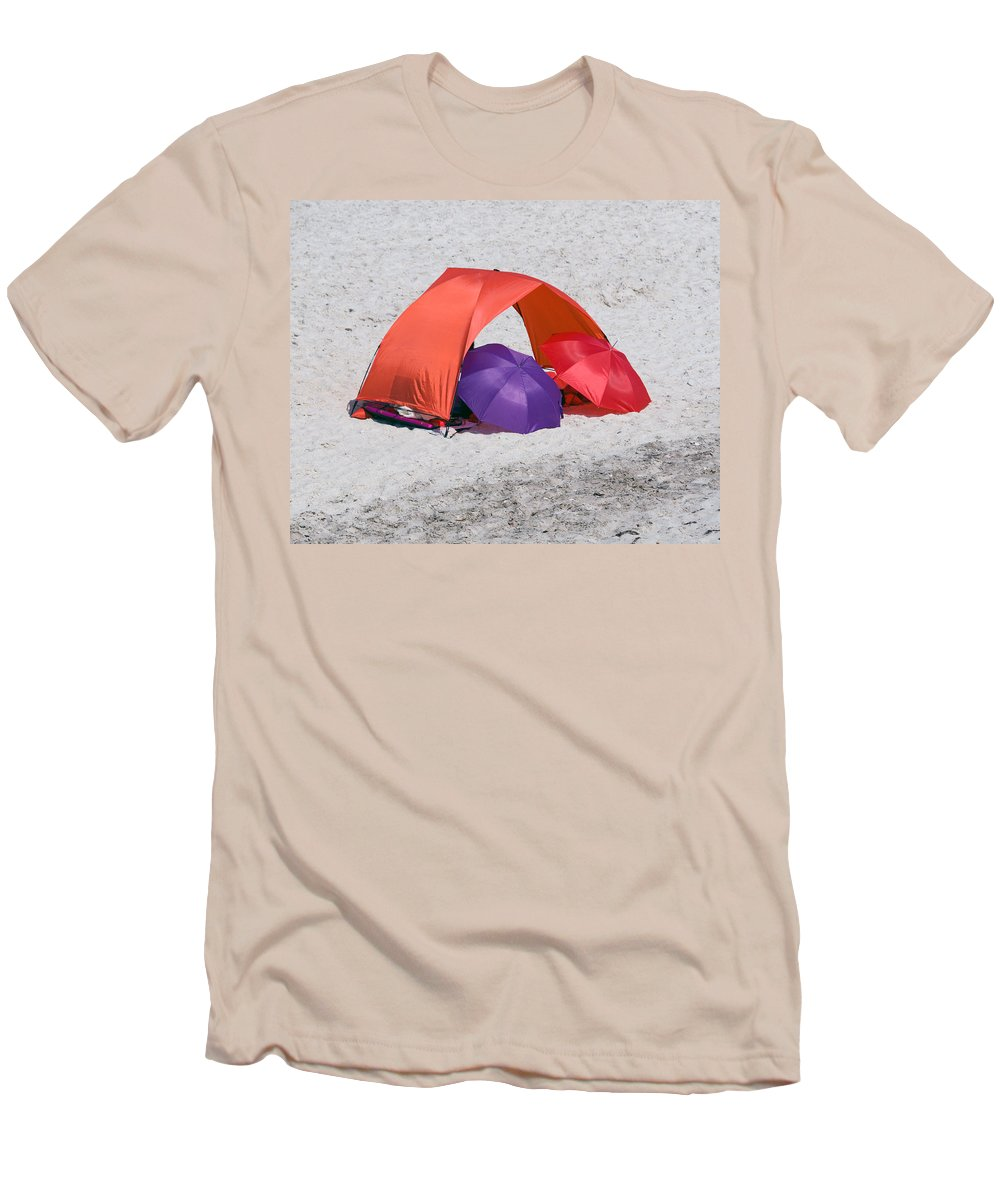 Florida; Vero; Beach; Shore; Coast; East; Atlantic; Ocean; Sand; Sandy; Umbrella; Umbrellas; Sun; Su Men's T-Shirt (Athletic Fit) featuring the photograph Private Beach For Two by Allan Hughes