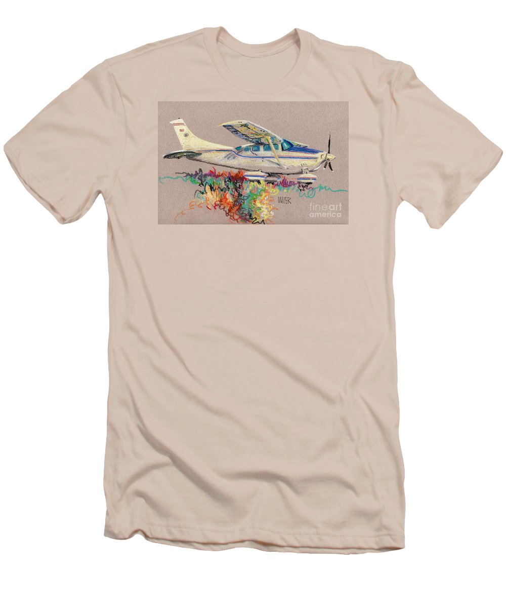 Small Plane Men's T-Shirt (Athletic Fit) featuring the drawing Private Plane by Donald Maier