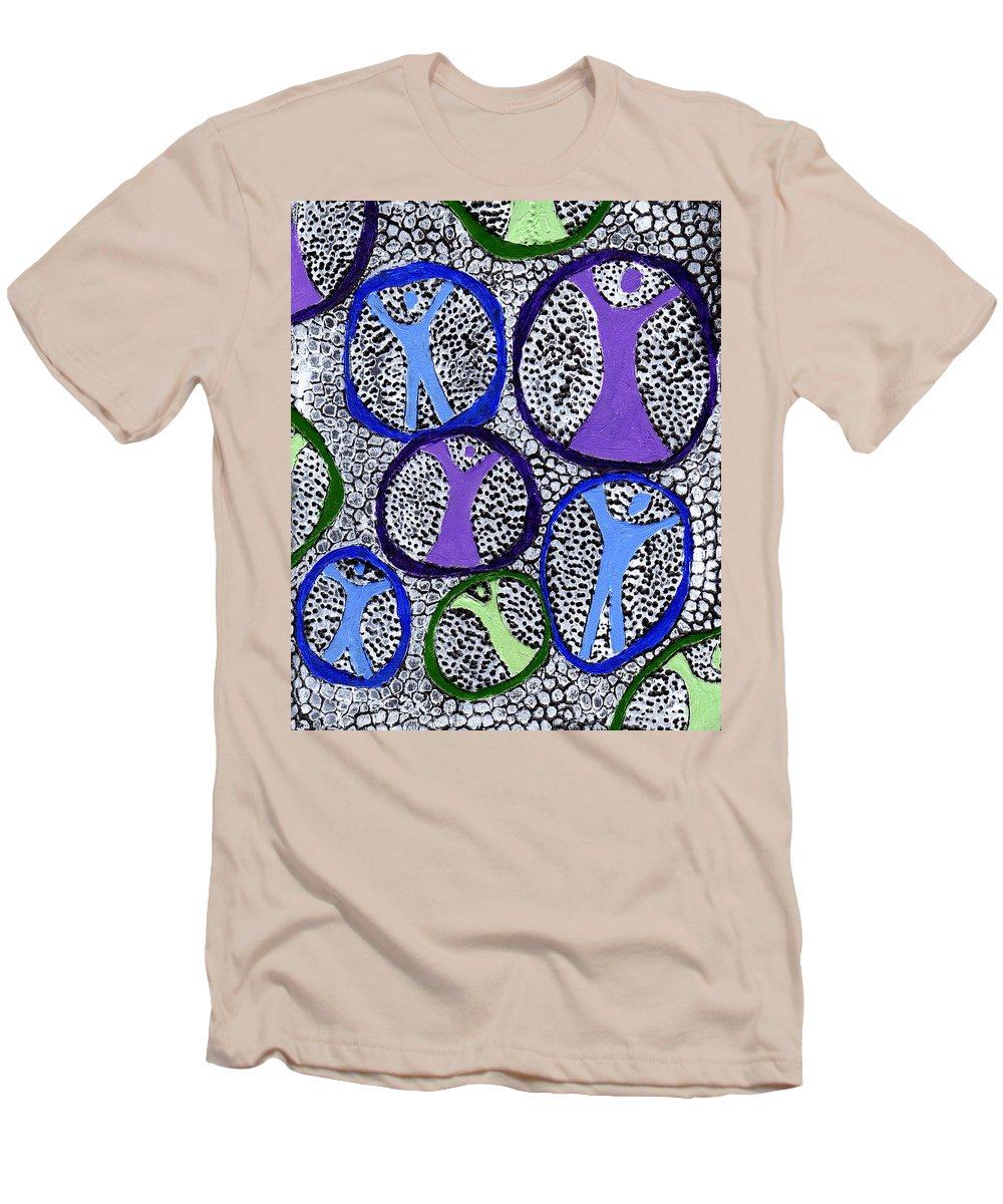 Symbolic Men's T-Shirt (Athletic Fit) featuring the painting Protection Isolation by Wayne Potrafka