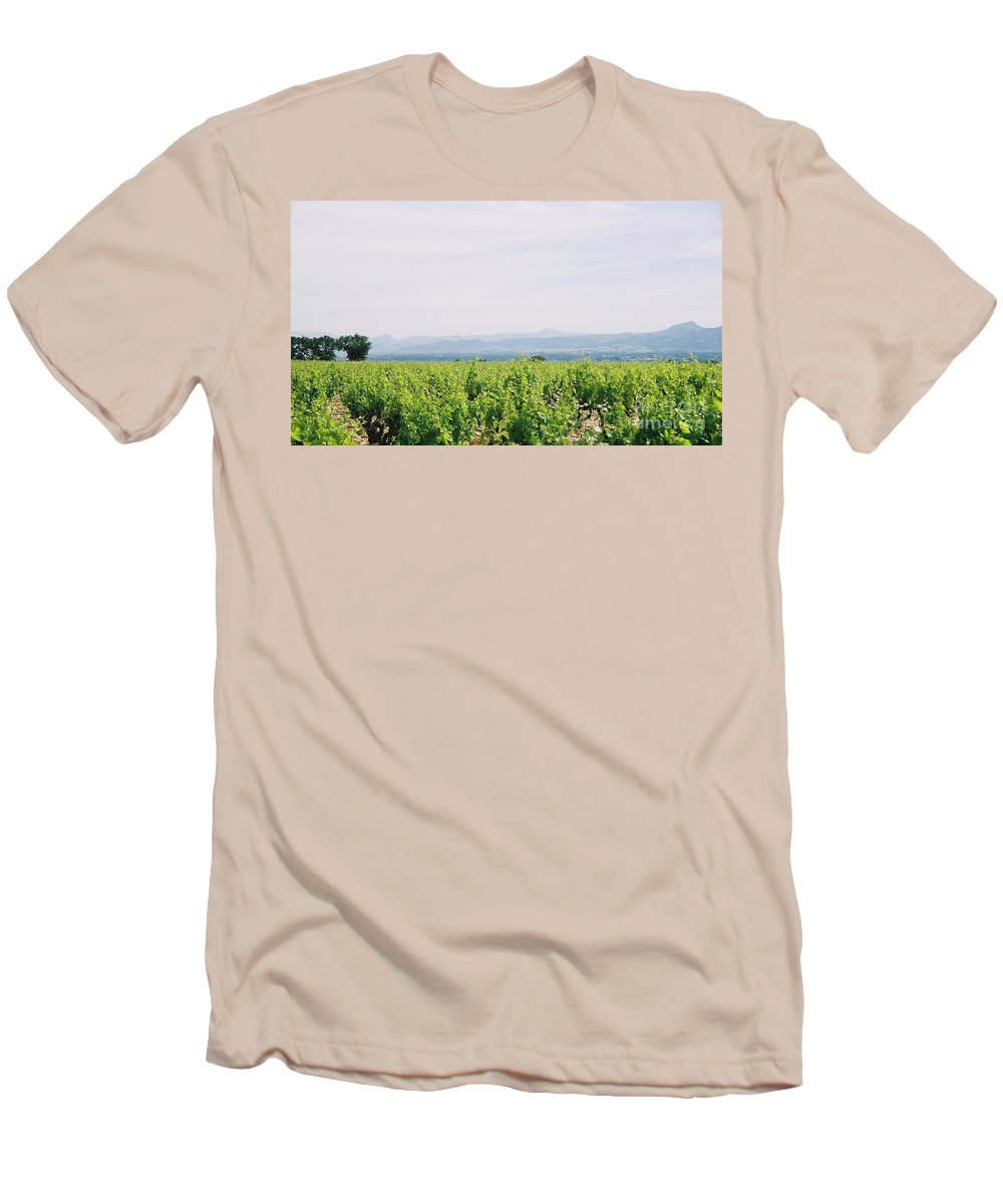France Men's T-Shirt (Athletic Fit) featuring the photograph Provence Spring Vineyard by Nadine Rippelmeyer