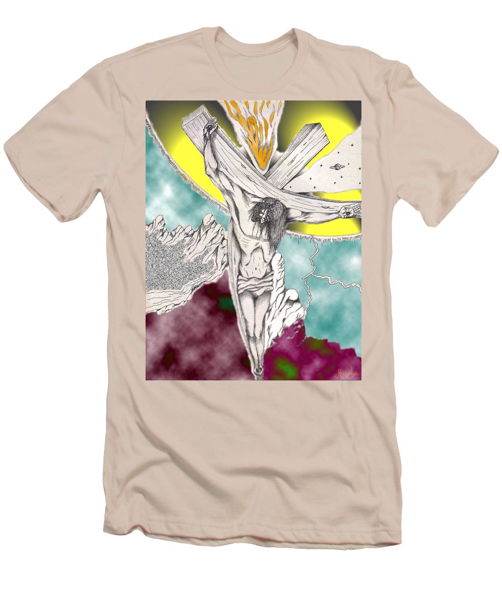 Spiritual Men's T-Shirt (Athletic Fit) featuring the digital art Psalm 22 Ch 13-15... by Marco Morales