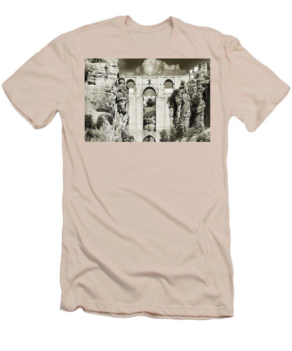 Bridge Men's T-Shirt (Athletic Fit) featuring the photograph Puente Nuevo Tajo De Ronda Andalucia Spain Europe by Mal Bray