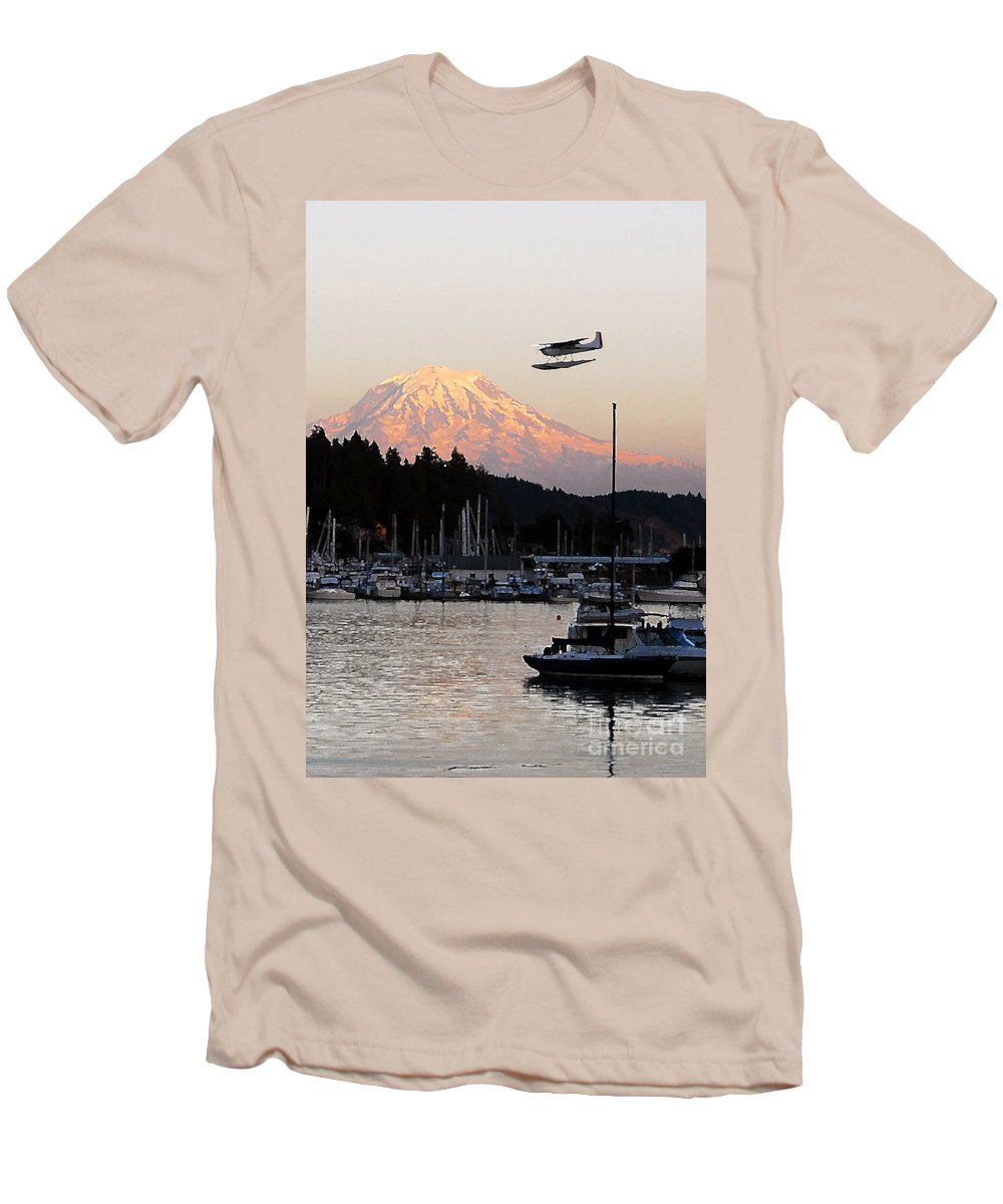 Puget Sound Men's T-Shirt (Athletic Fit) featuring the photograph Puget Sound Landing by David Lee Thompson