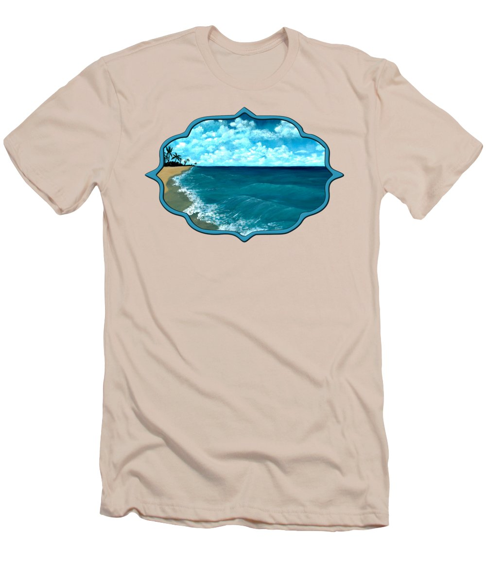 Blue Men's T-Shirt (Athletic Fit) featuring the painting Punta Cana Beach by Anastasiya Malakhova