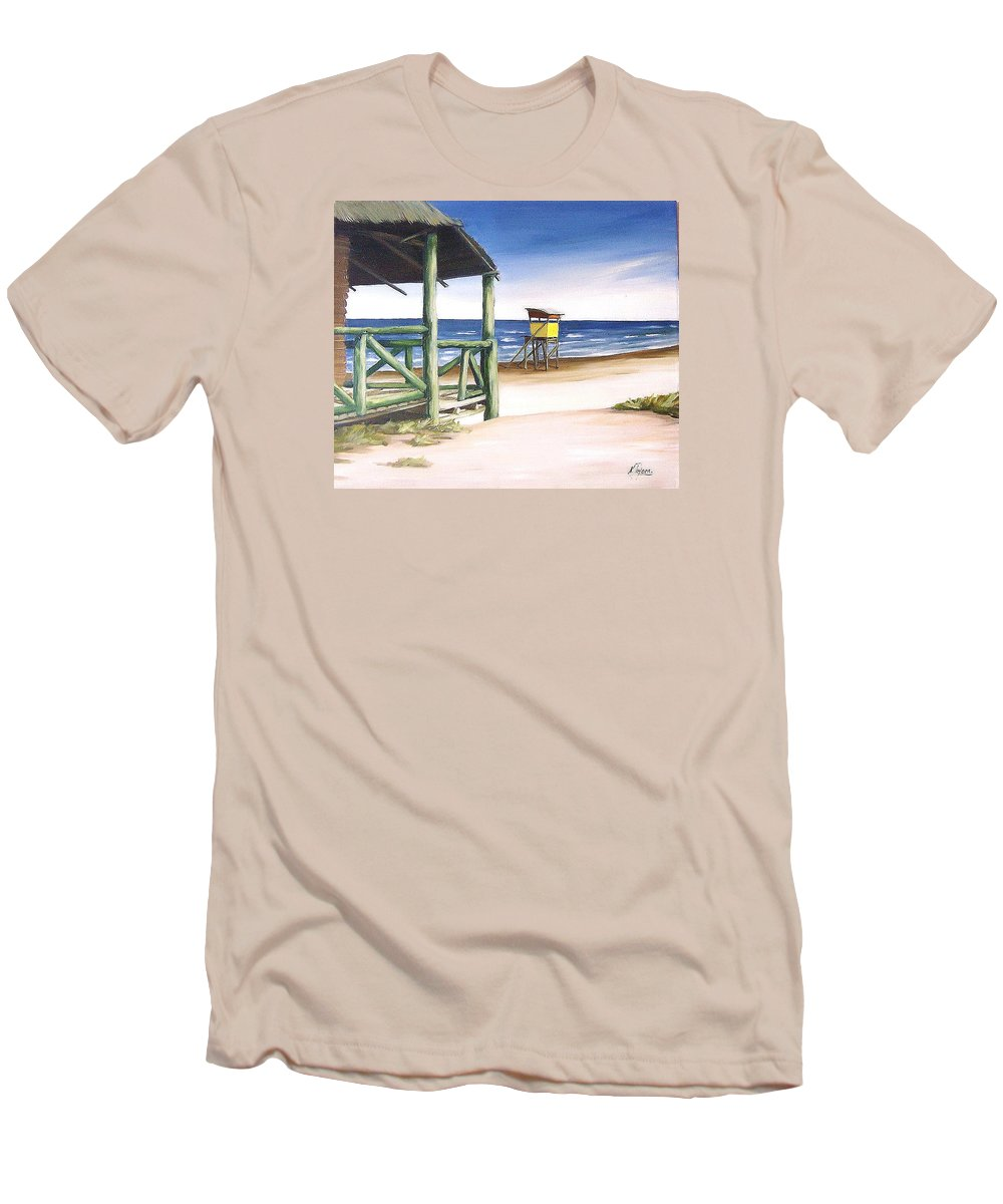 Seascape Beach Landscape Water Ocean Men's T-Shirt (Athletic Fit) featuring the painting Punta Del Diablo S Morning by Natalia Tejera