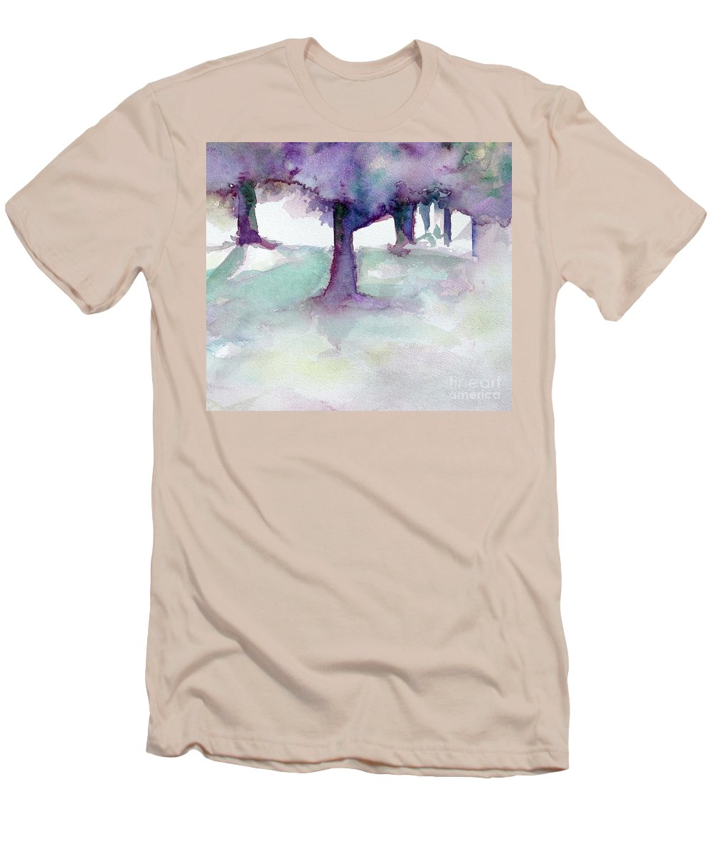 Landscape Men's T-Shirt (Athletic Fit) featuring the painting Purplescape II by Jan Bennicoff
