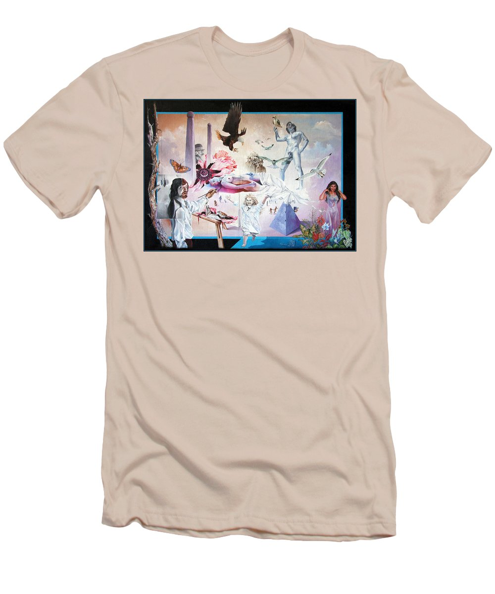 Surrealism Men's T-Shirt (Athletic Fit) featuring the painting Quiet Afternoon At The Studio by Otto Rapp