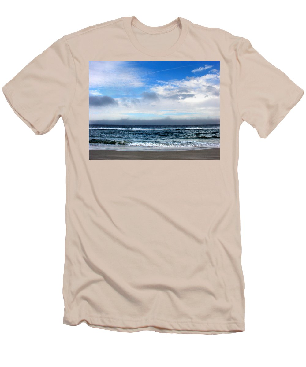 Seascape Men's T-Shirt (Athletic Fit) featuring the photograph Receding Fog Seascape by Steve Karol