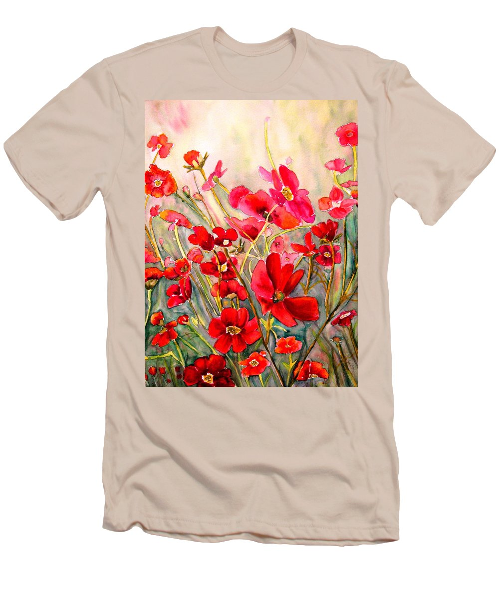 Poppies Men's T-Shirt (Athletic Fit) featuring the painting Red Poppies by Carole Spandau
