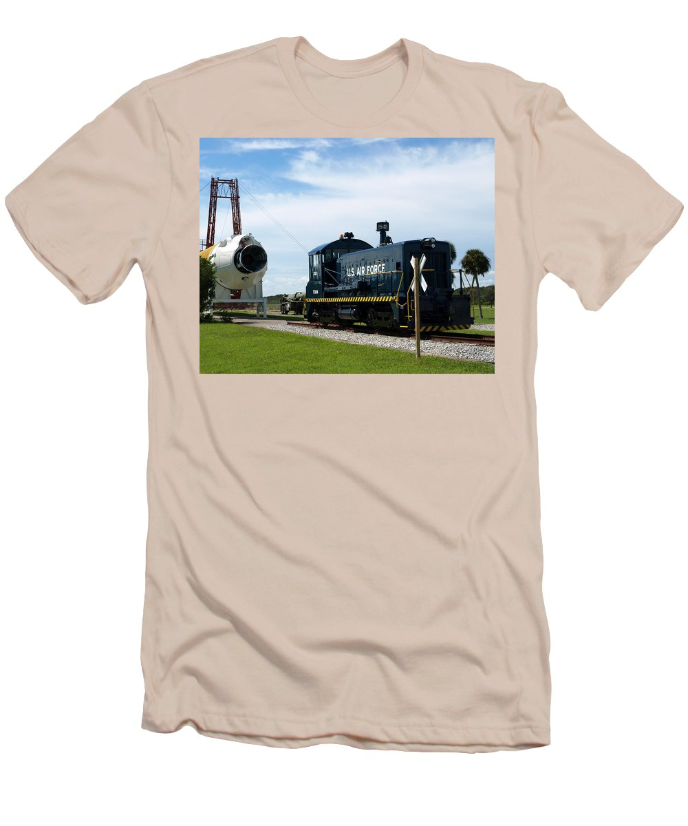 Airforce; Air Force; Air; Force; U.s.; Locomotive; Engine; Rail; Road; Railroad; Railway; Train; Gro Men's T-Shirt (Athletic Fit) featuring the photograph Rocket Locomotive At Cape Canaveral In Florida by Allan Hughes