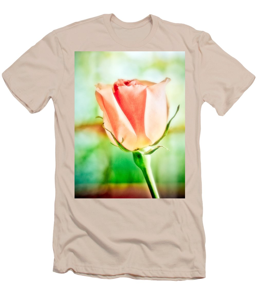 Rose Men's T-Shirt (Athletic Fit) featuring the photograph Rose In Window by Marilyn Hunt
