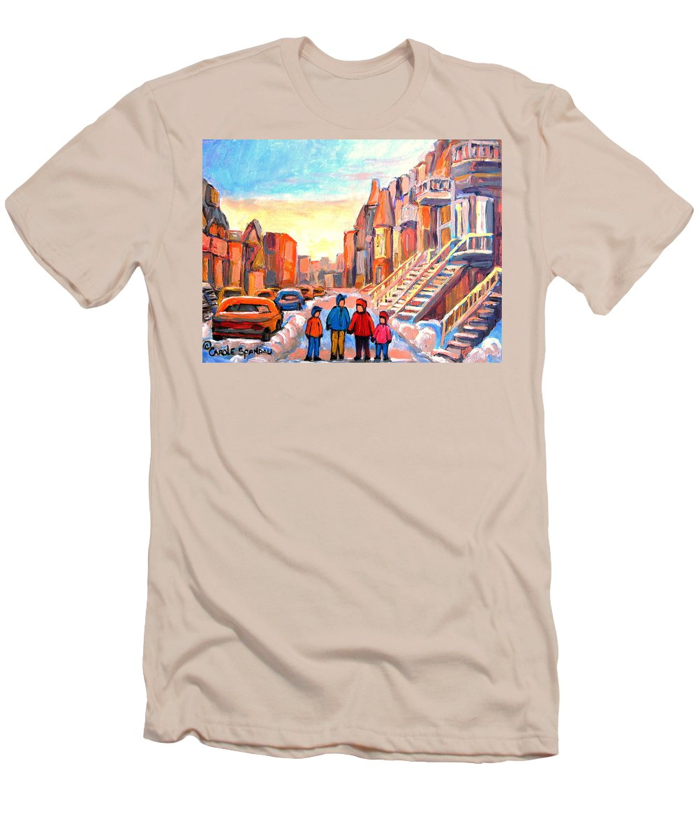 Rue Hotel De Ville Montreal Men's T-Shirt (Athletic Fit) featuring the painting Rue Hotel De Ville Montreal by Carole Spandau