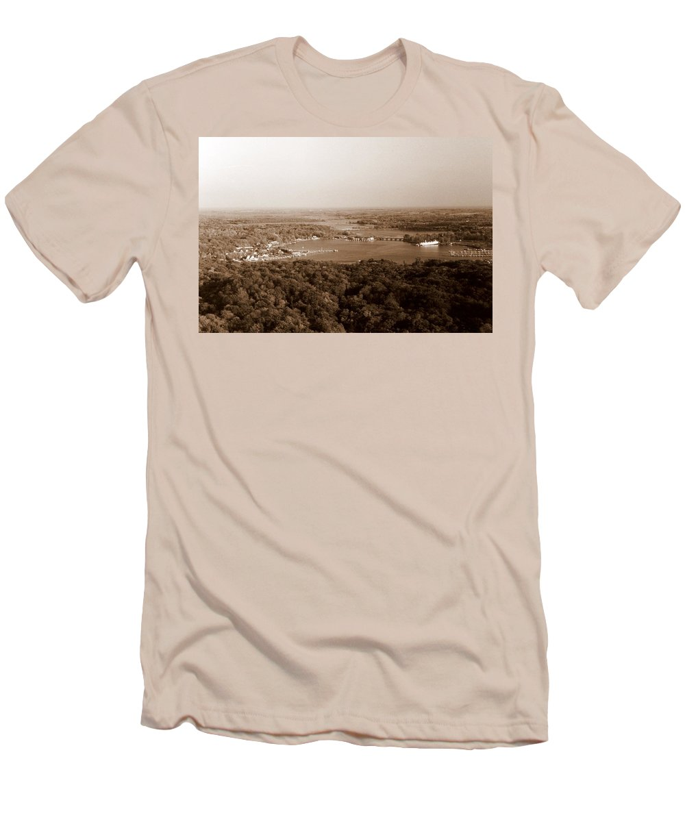 Saugatuck Men's T-Shirt (Athletic Fit) featuring the photograph Saugatuck Michigan Harbor Aerial Photograph by Michelle Calkins