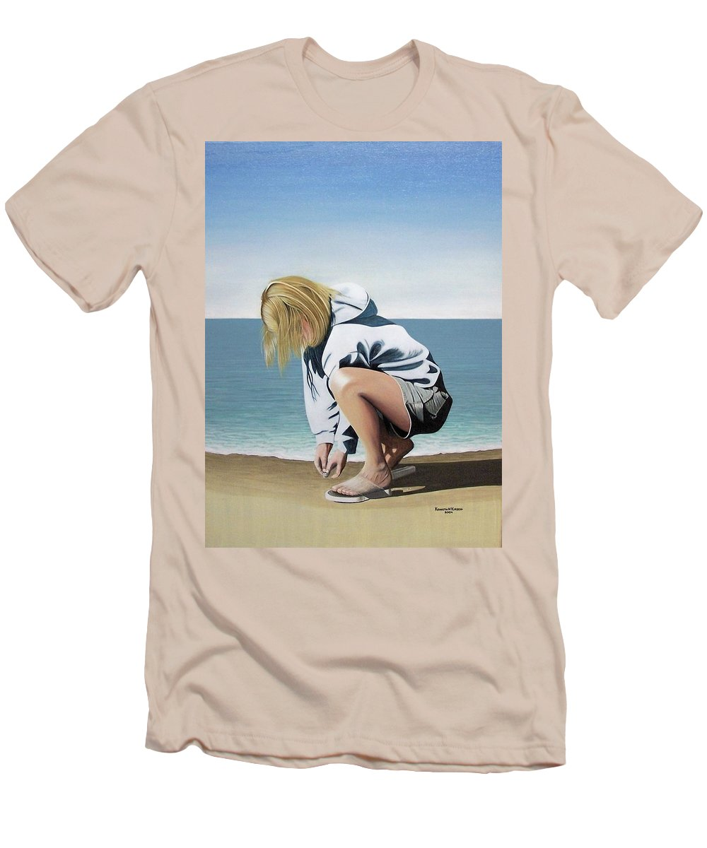 Landscape Men's T-Shirt (Athletic Fit) featuring the painting Sea Shells On The Beach by Kenneth M Kirsch