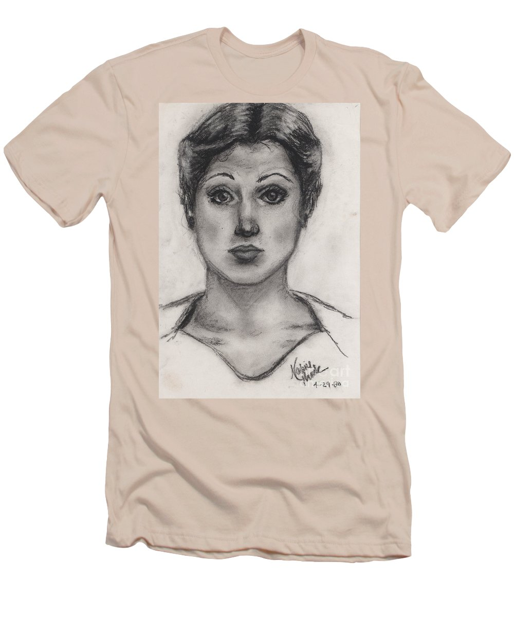 Nadine Men's T-Shirt (Athletic Fit) featuring the drawing Self Portrait At Age 18 by Nadine Rippelmeyer