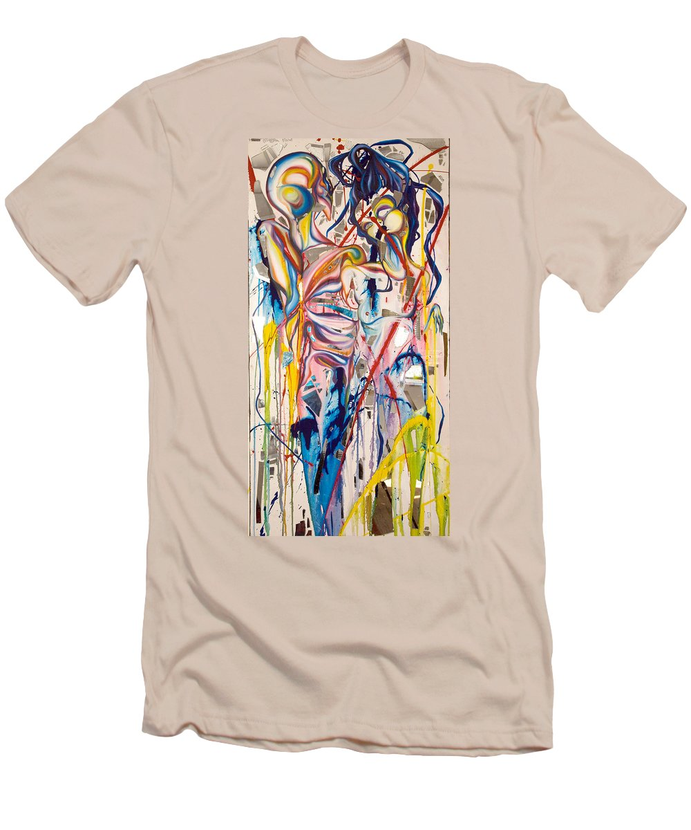 Abstract Men's T-Shirt (Athletic Fit) featuring the painting Shards by Sheridan Furrer