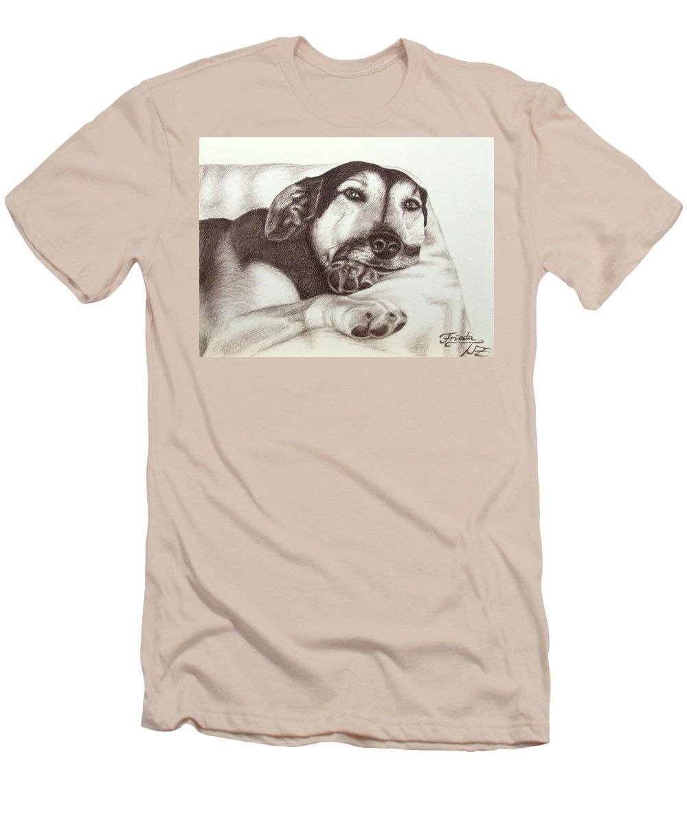 Dog Men's T-Shirt (Athletic Fit) featuring the drawing Shepherd Dog Frieda by Nicole Zeug