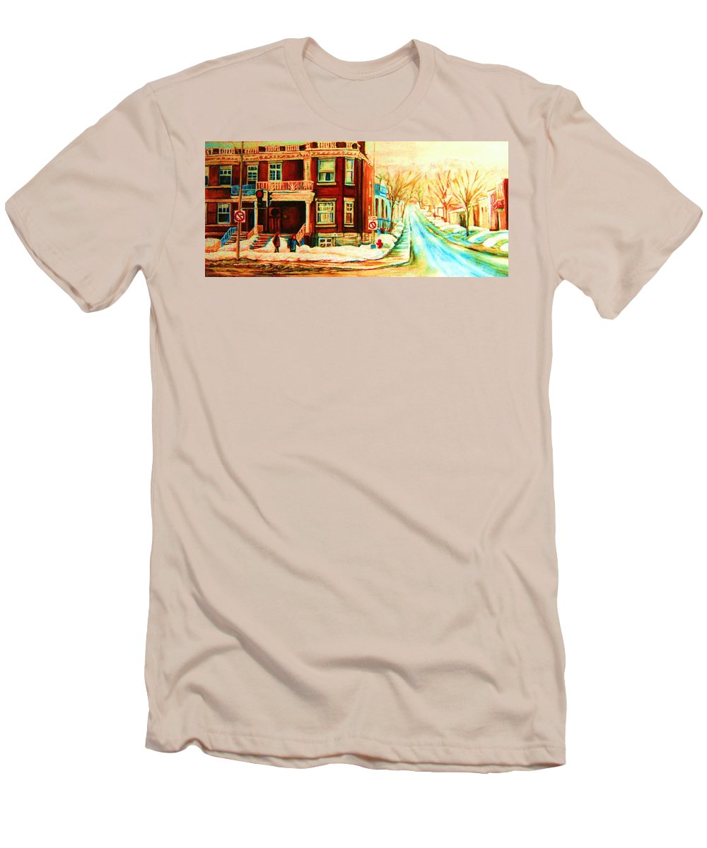 Montreal Men's T-Shirt (Athletic Fit) featuring the painting Sherbrooke In Winter by Carole Spandau