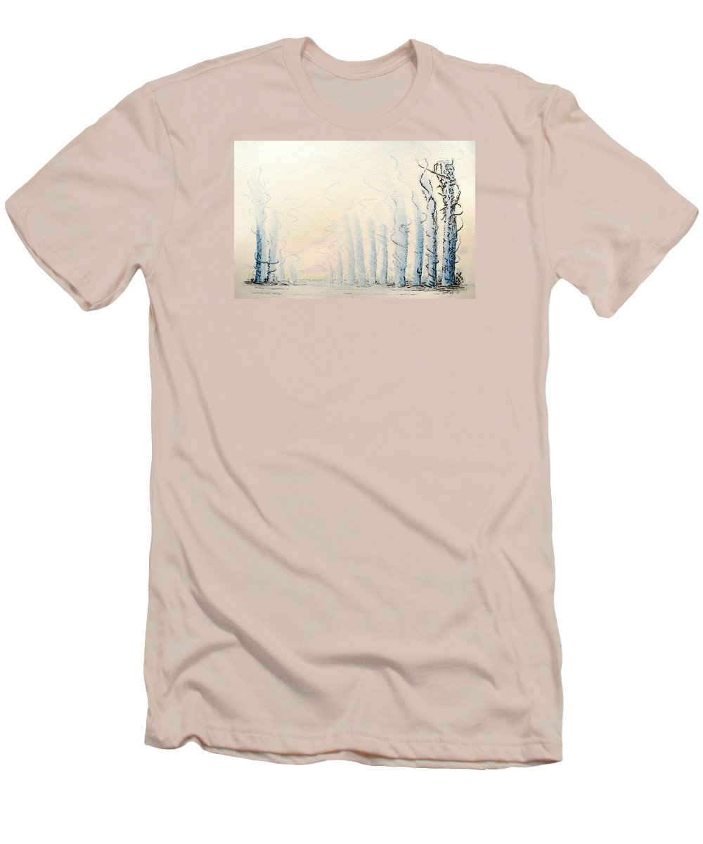 Watercolor Men's T-Shirt (Athletic Fit) featuring the painting Signals by Dave Martsolf