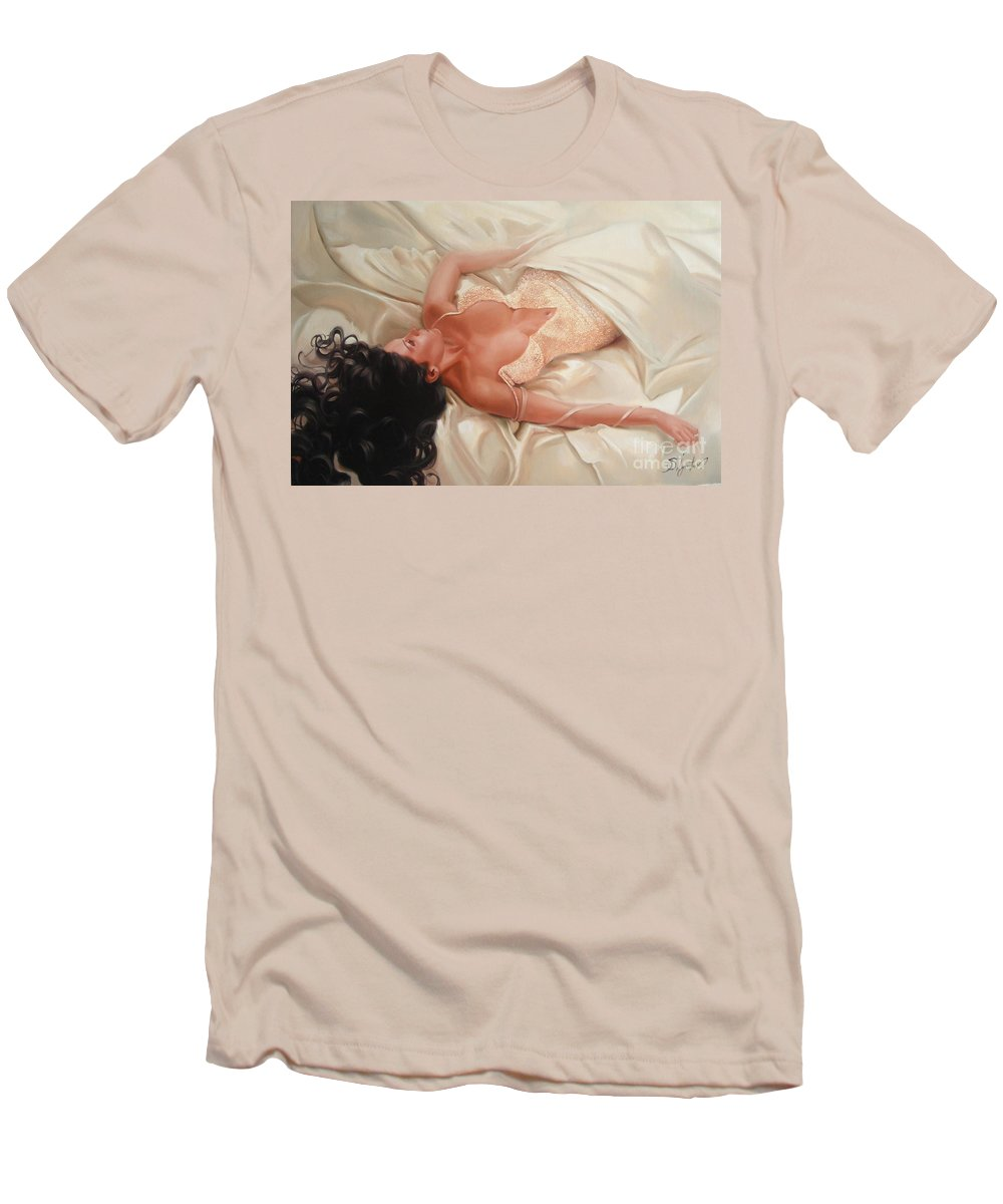 Art Men's T-Shirt (Athletic Fit) featuring the painting Silk And Thrill by Sergey Ignatenko