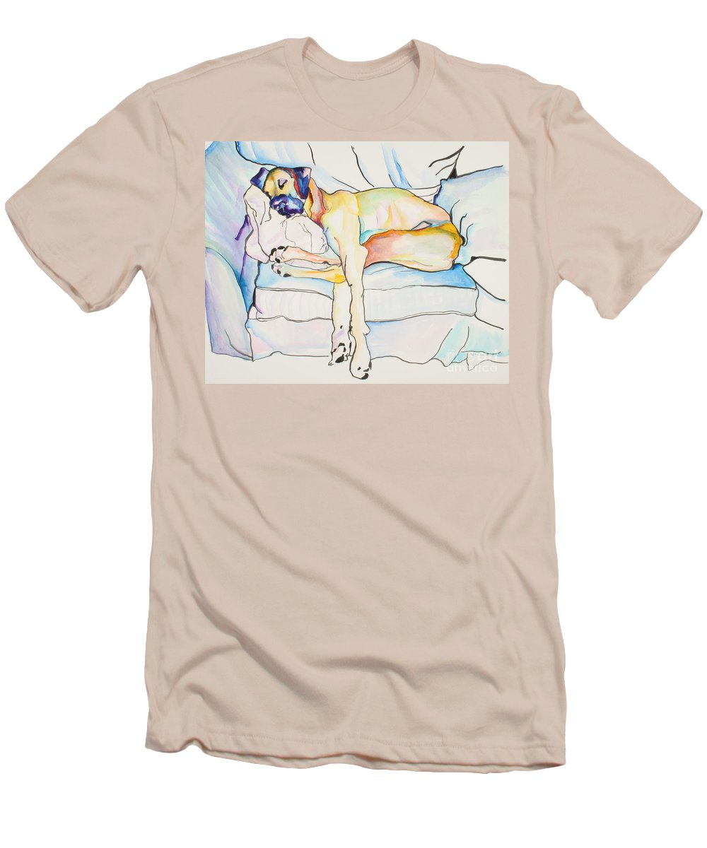 Great Dane Men's T-Shirt (Athletic Fit) featuring the painting Sleeping Beauty by Pat Saunders-White