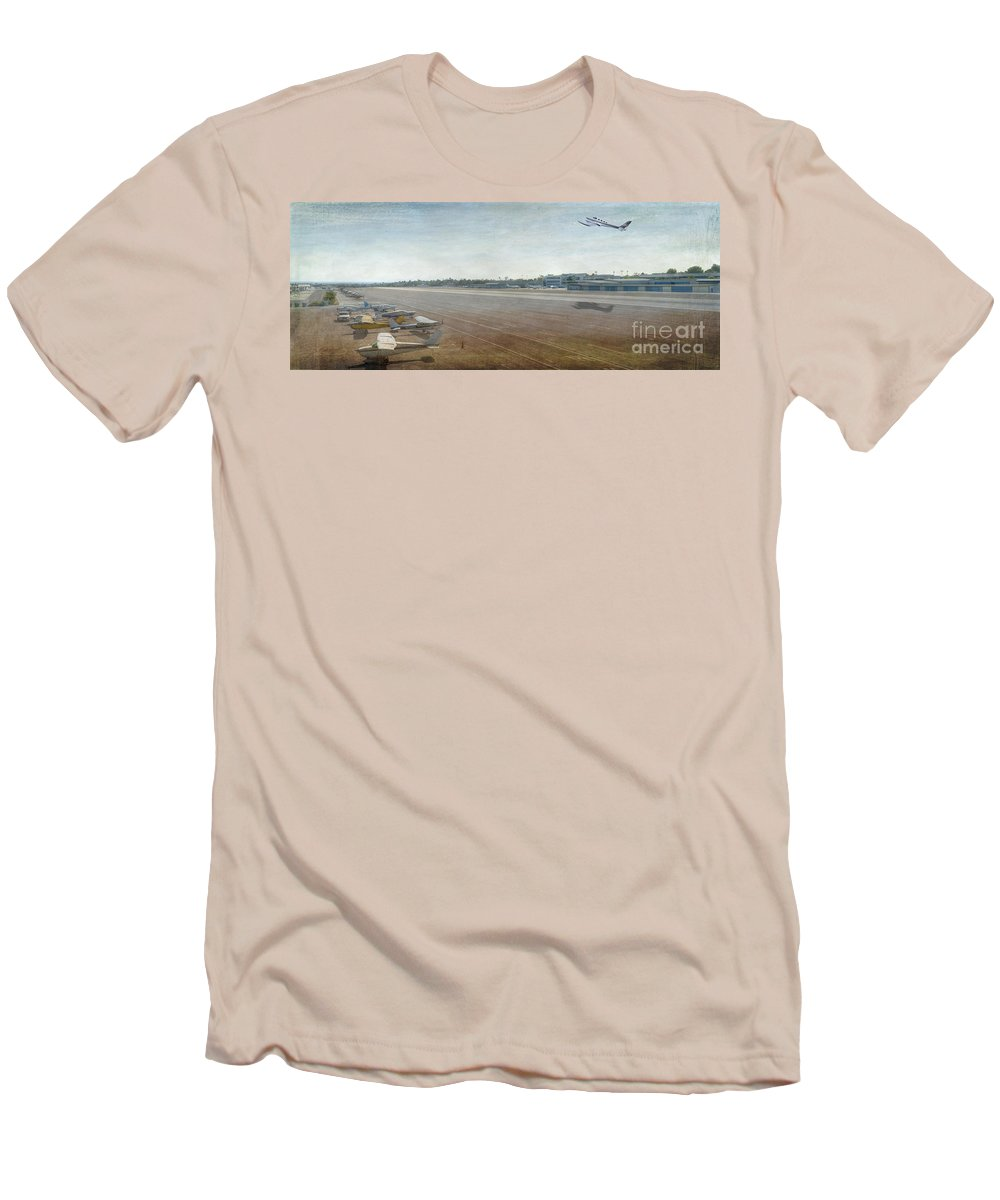 City Airport Men's T-Shirt (Athletic Fit) featuring the photograph Small City Airport Plane Taking Off Runway by David Zanzinger