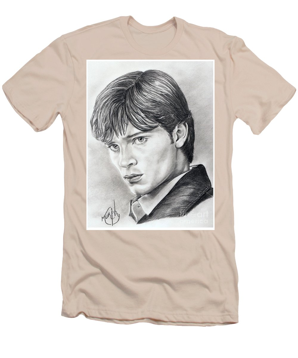 Superman Men's T-Shirt (Athletic Fit) featuring the drawing Smallville Tom Welling by Murphy Elliott
