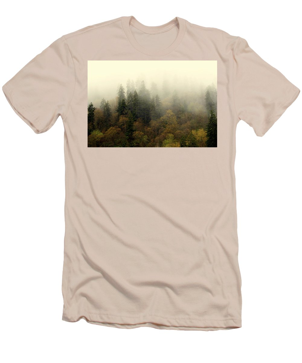 Fog Men's T-Shirt (Athletic Fit) featuring the photograph Smoky Mount Horizontal by Marty Koch