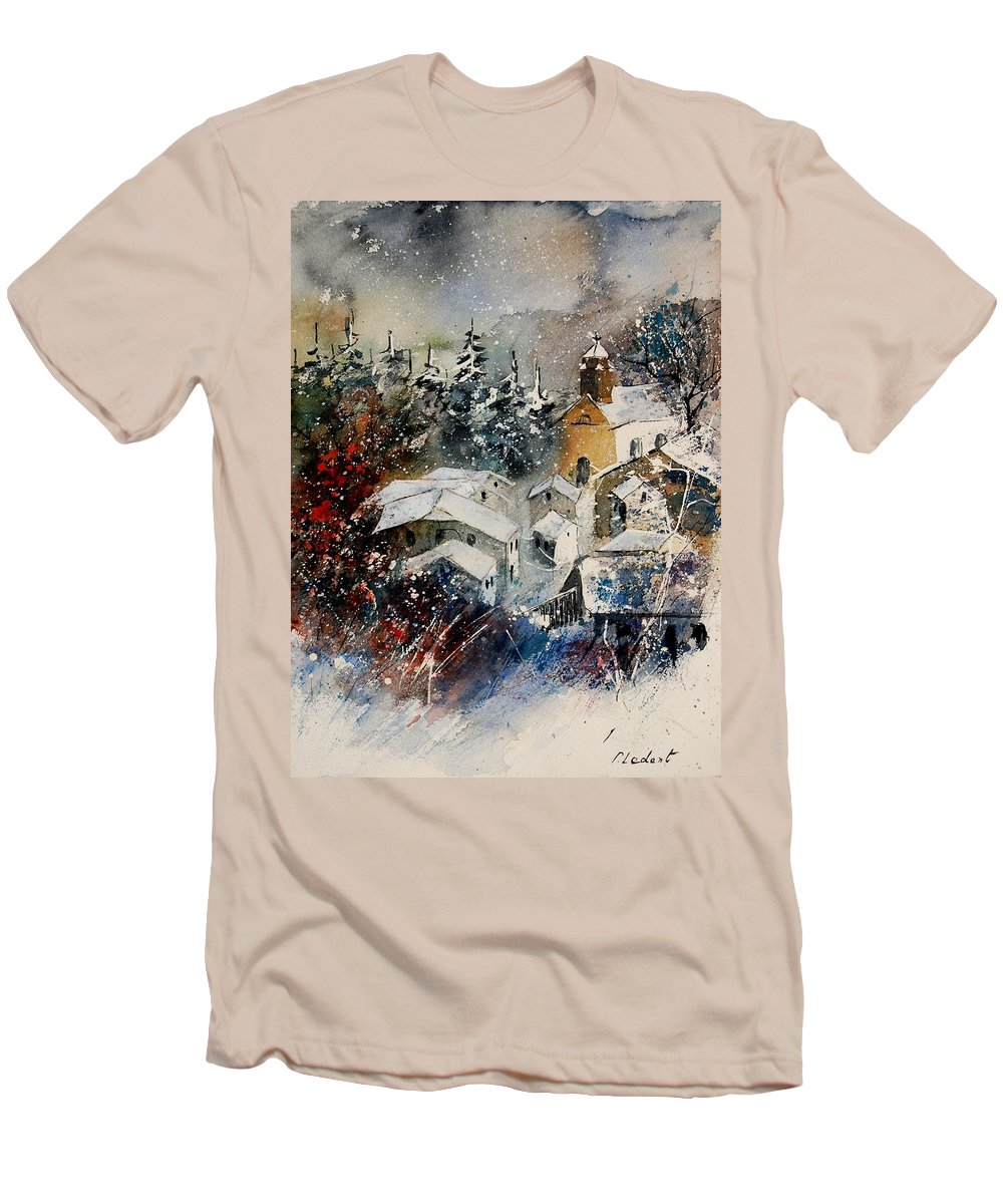 Landscape Men's T-Shirt (Athletic Fit) featuring the painting Snon In Frahan by Pol Ledent