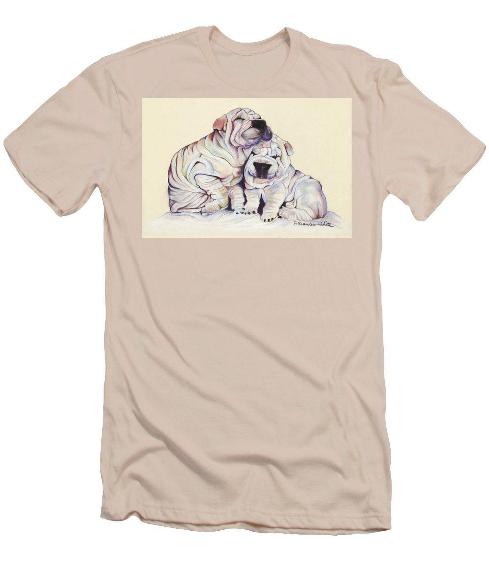 Dog Painting Men's T-Shirt (Athletic Fit) featuring the pastel Snuggles by Pat Saunders-White