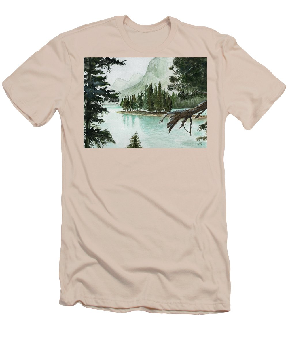 Landscape Men's T-Shirt (Athletic Fit) featuring the painting Spirit Lake by Brenda Owen