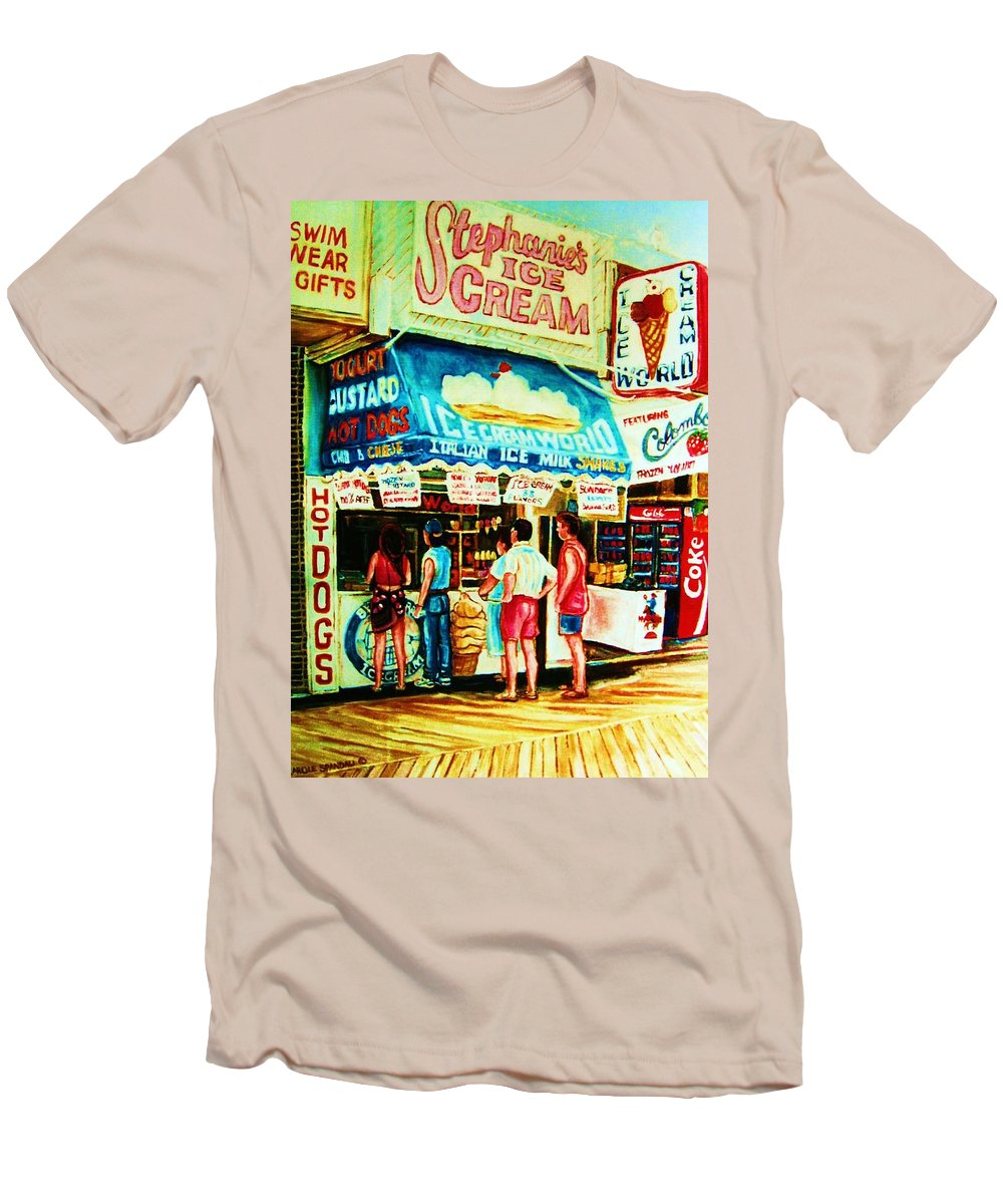 Children Men's T-Shirt (Athletic Fit) featuring the painting Stephanies Icecream Stand by Carole Spandau