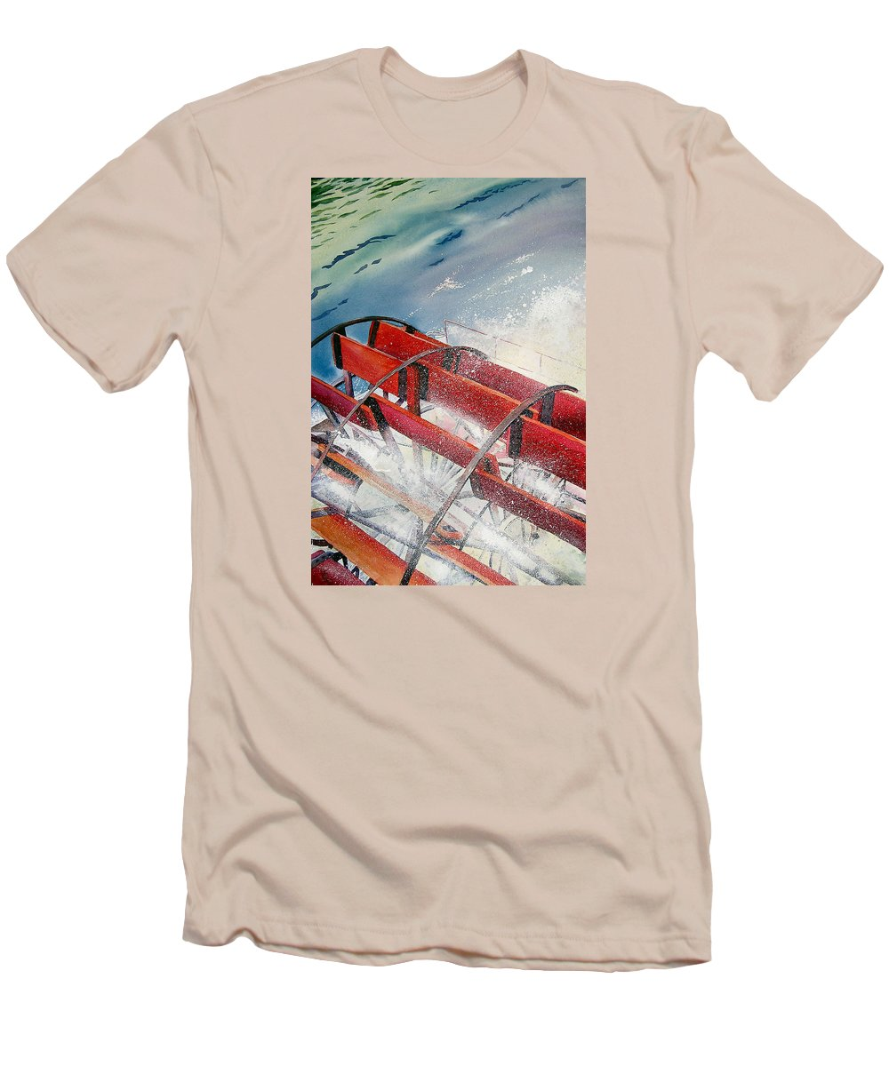 Paddlewheeler Men's T-Shirt (Athletic Fit) featuring the painting Sternwheeler Splash by Karen Stark