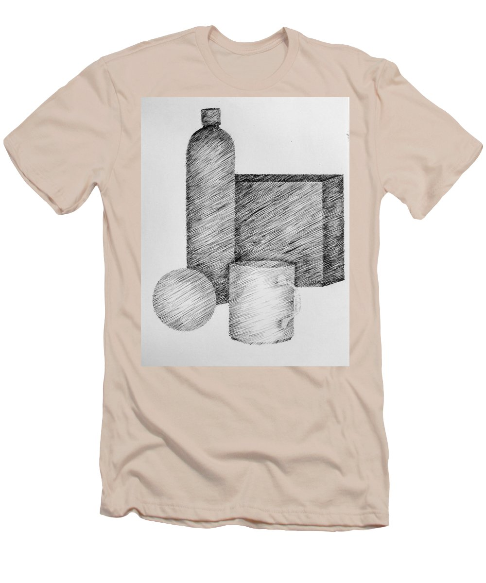 Still Life Men's T-Shirt (Athletic Fit) featuring the drawing Still Life With Cup Bottle And Shapes by Michelle Calkins