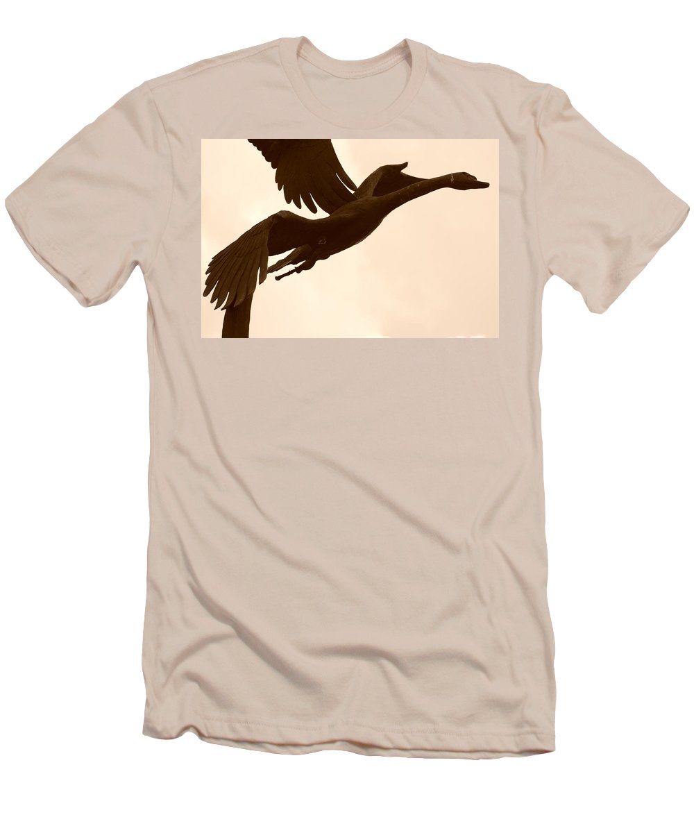 Sepia Men's T-Shirt (Athletic Fit) featuring the photograph Stone Birds by Rob Hans