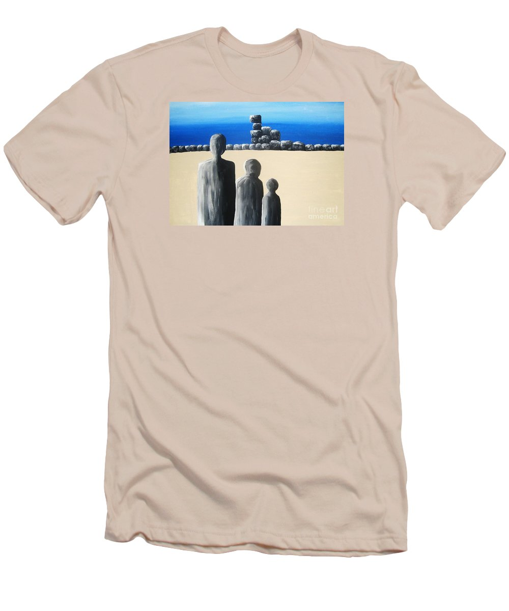 Stones Men's T-Shirt (Athletic Fit) featuring the painting Stone Horizon by Reb Frost
