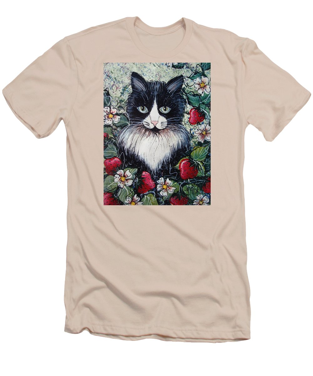 Cat Men's T-Shirt (Athletic Fit) featuring the painting Strawberry Lover Cat by Natalie Holland